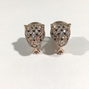 14k Rose Gold Tiger 🐅 Head Diamond 💎 Earrings
